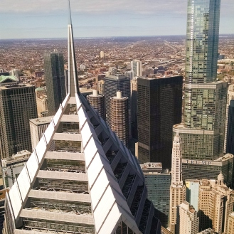 View of Prudential and Trump from Aon Center (71st floor)